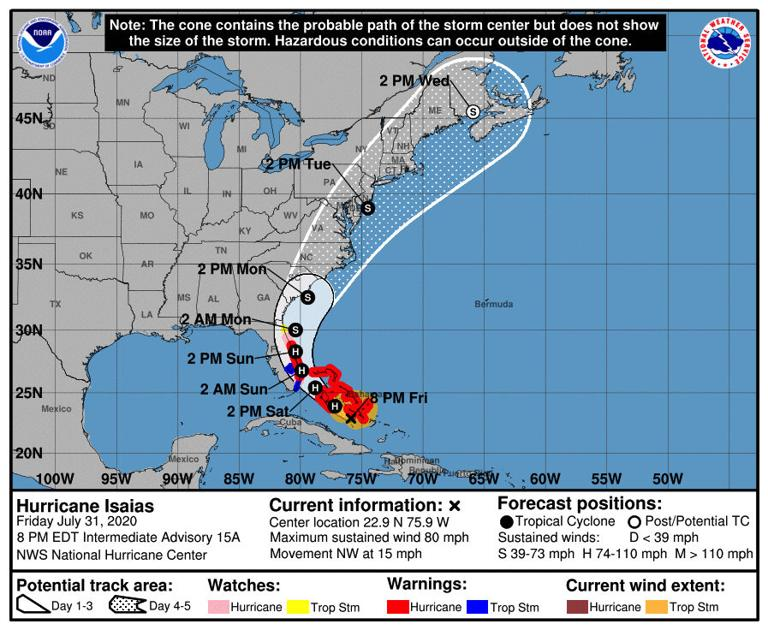 Hurricane Isaias headed north, could hit SC as tropical storm Monday; no evacuation ordered thumbnail