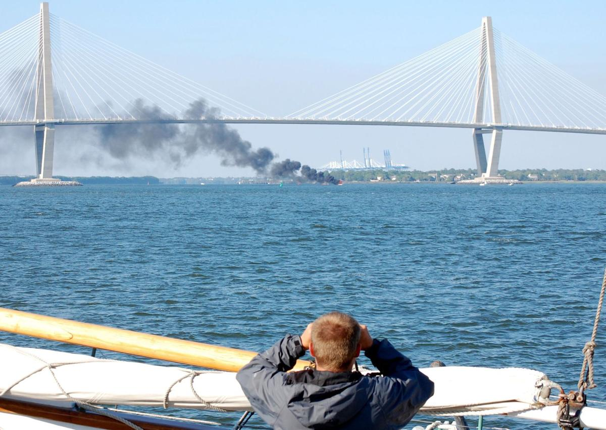Four rescued after power boat explodes, burns in Cooper River