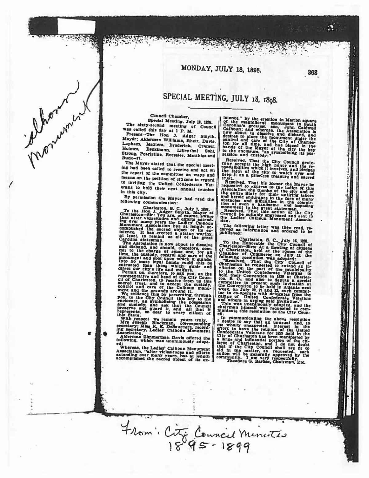 City Council Meeting Minutes July 18, 1898