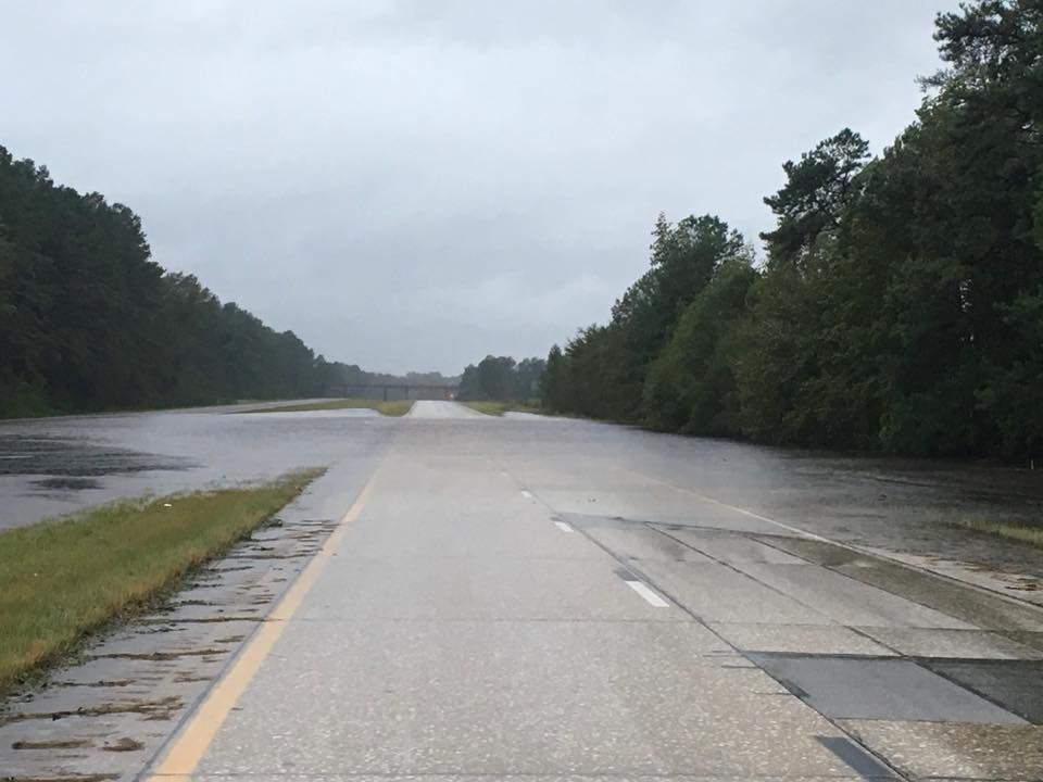 Flooded section of Interstate 95 in Dillon County
