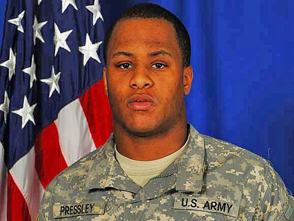Pvt. Cheziray Pressley, who was killed by a roadside bomb in Afghanistan, is honored with a Memorial Day service