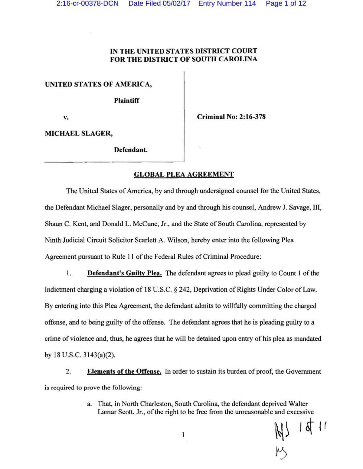 Slager plea agreement