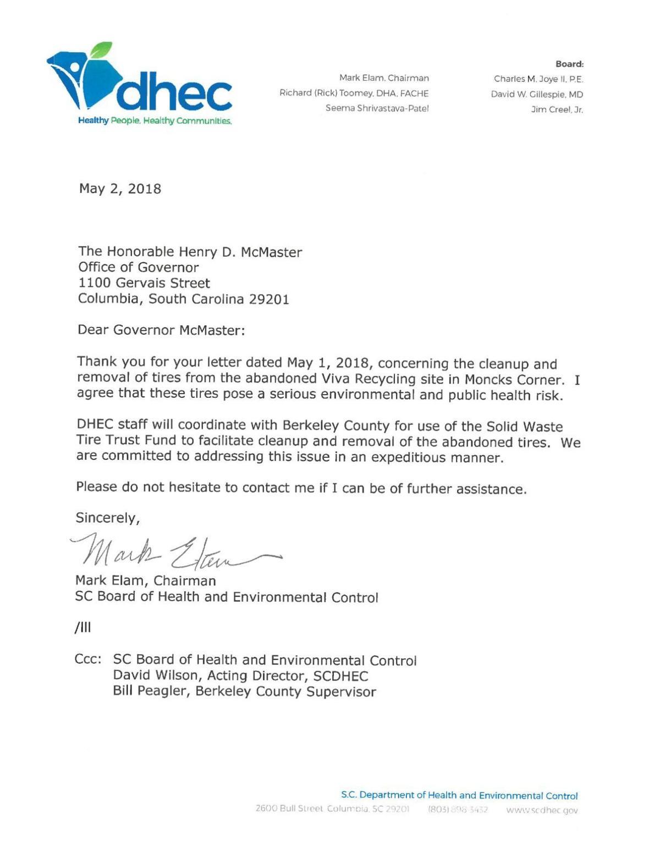 Elam letter to McMaster regarding Viva