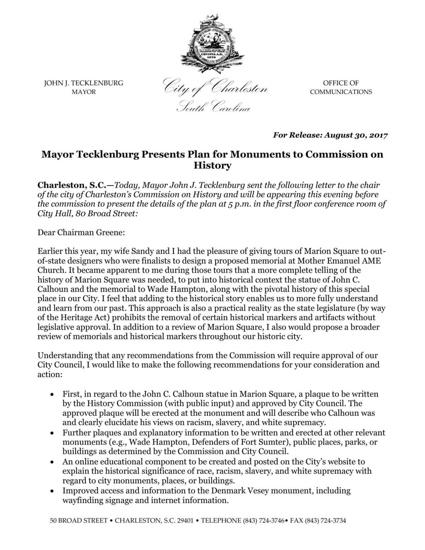 Mayor Tecklenburg Presents Plan for Monuments