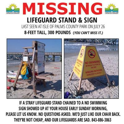 Who stole a lifeguard chair from Isle of Palms County Park, and why?
