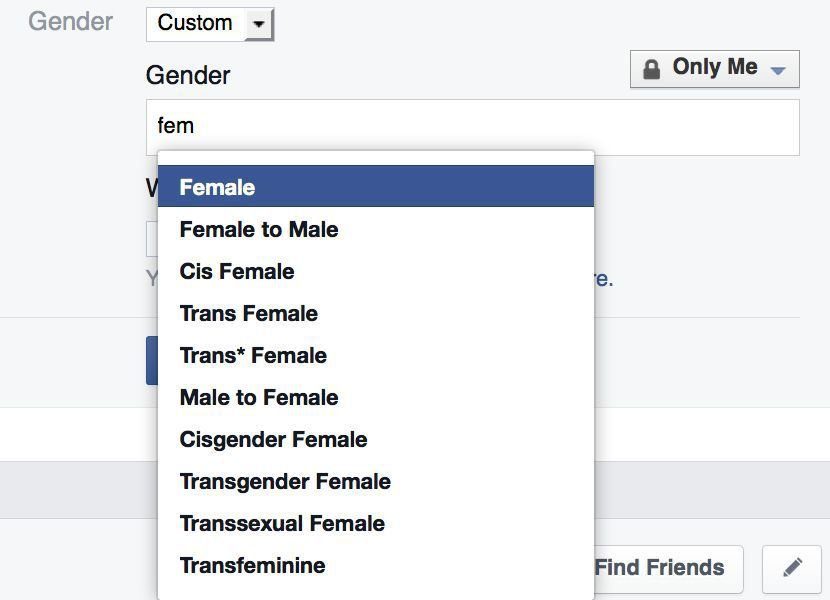 If Facebook gender options don't apply, create your own