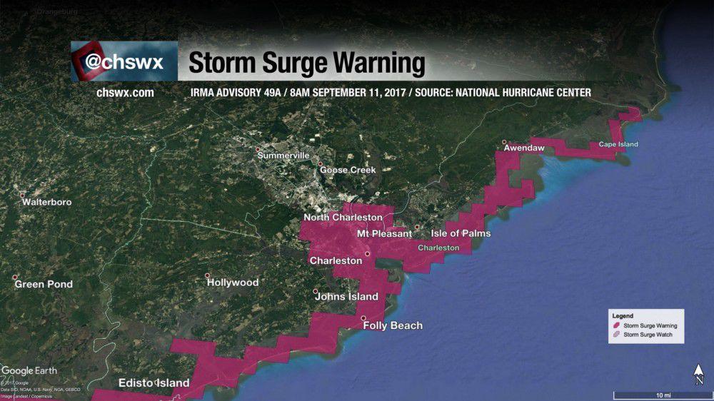 Explained Why Charleston Will Flood Today As High Tide And Irma - Charleston sc doppler radar
