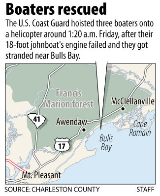 Three rescued from boat near McClellanville