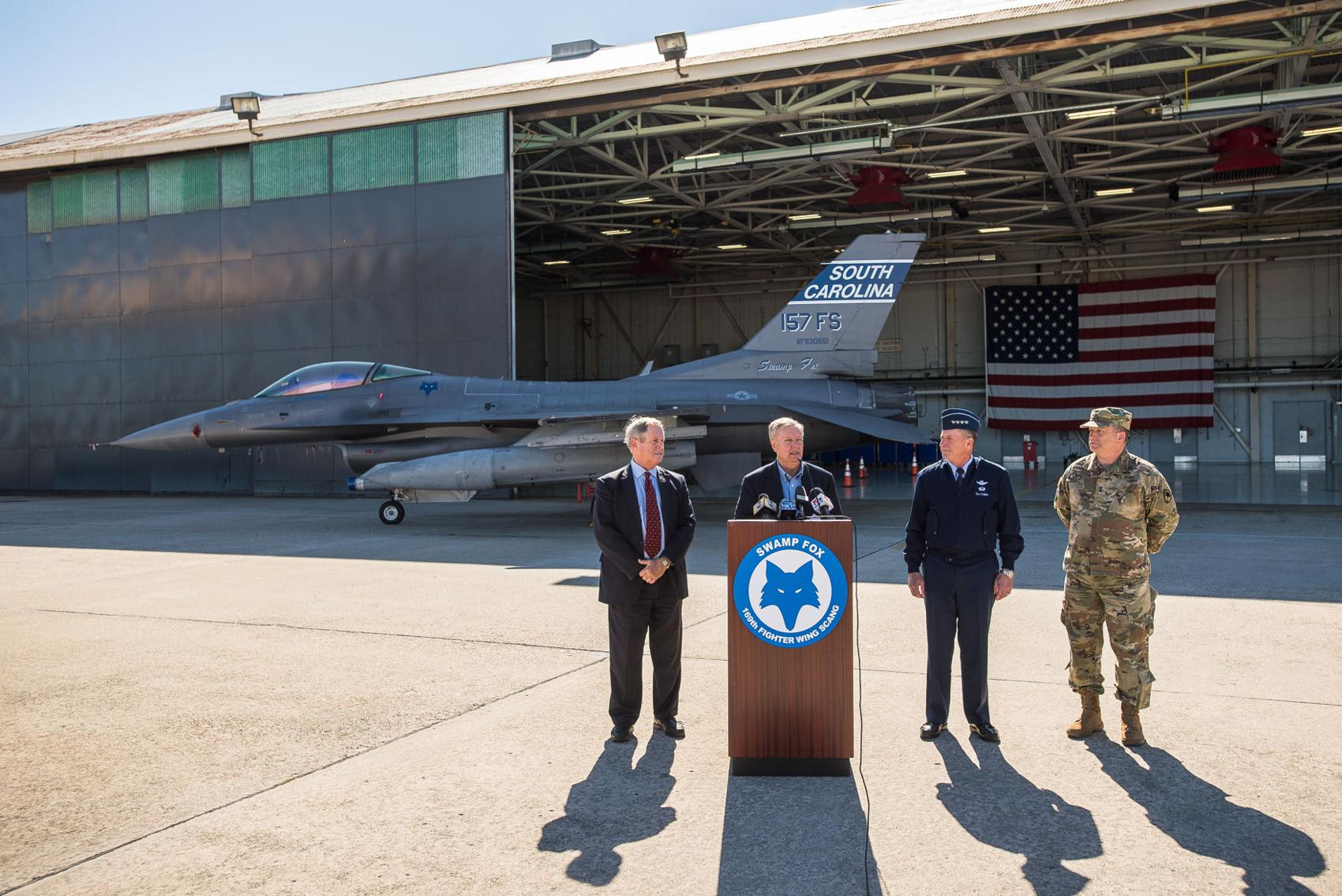 Sen. Lindsey Graham pitches Trump on F-35s during visit to South Carolina's McEntire Air Guard Base