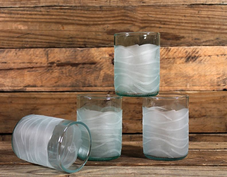 Tumblers are recycled wine bottles