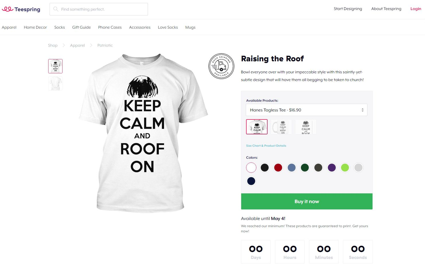 San Francisco-based Teespring says it didn't mean to sell