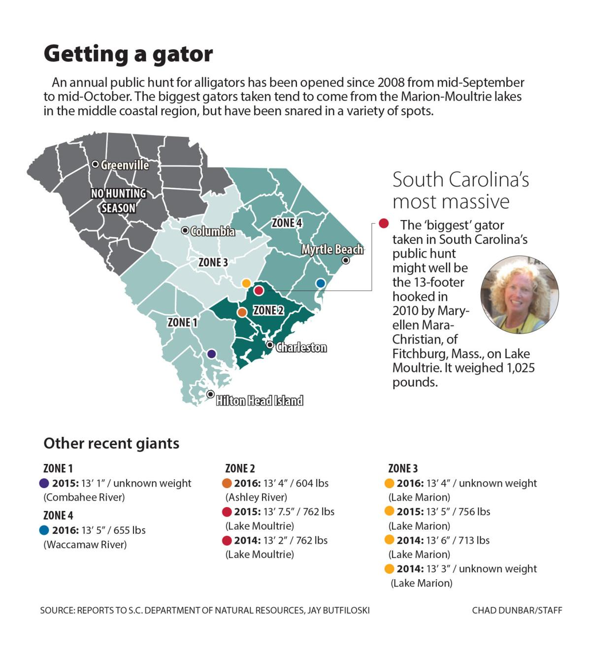 Alligators In South Carolina Map How long are South Carolina's biggest gators and where are they