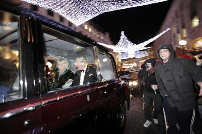 Protesters attack car containing Prince Charles