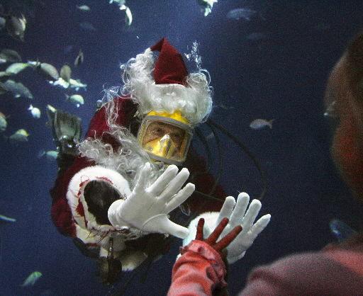 Santa Claus takes a dip