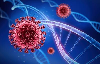 Coronavirus with DNA illustration