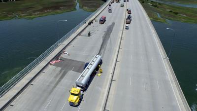 Fuel tanker crash closes Ravenel Bridge for more than eight hours