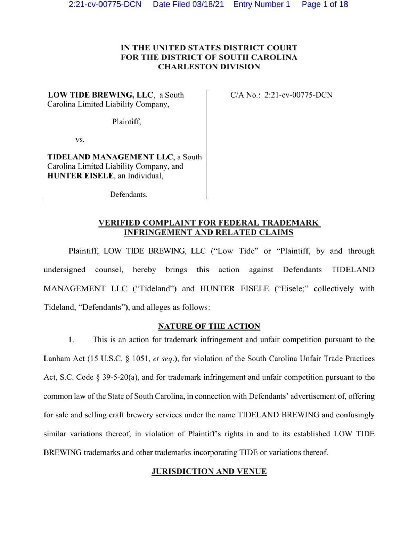Low Tide Brewing lawsuit