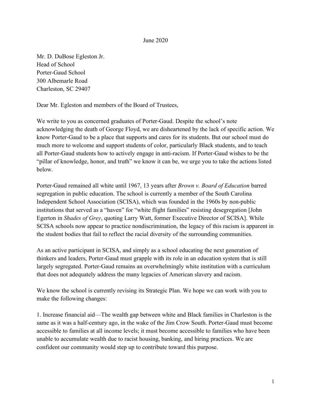Alumni letter to Porter-Gaud