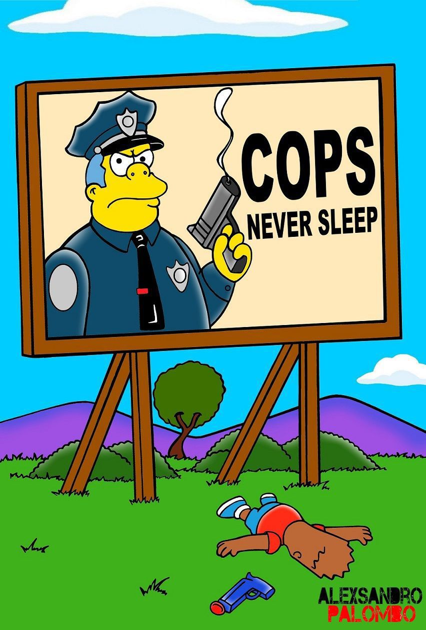 Artist comments on Walter Scott, other police shootings with reinterpretation of The Simpsons