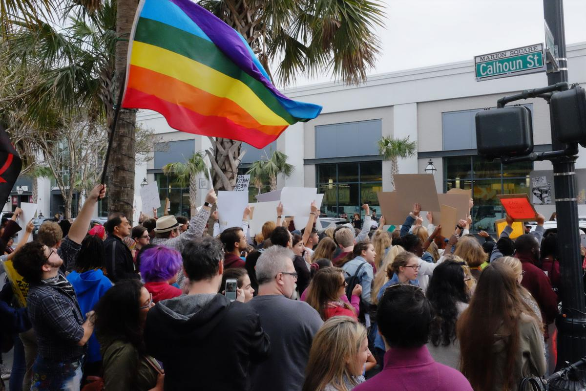 Protesters rally in Charleston against President-elect Donald Trump