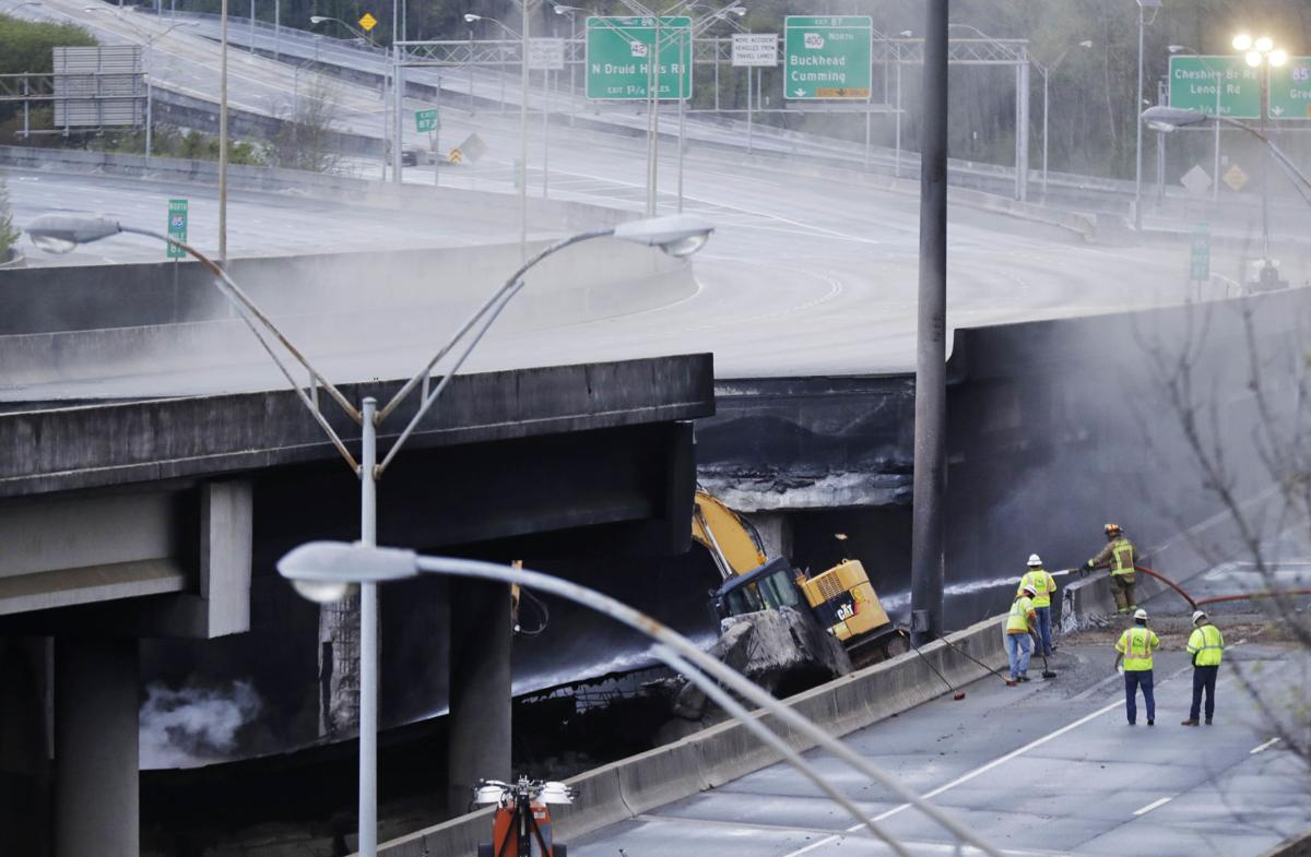 APTOPIX Overpass Collapse Fire (copy)