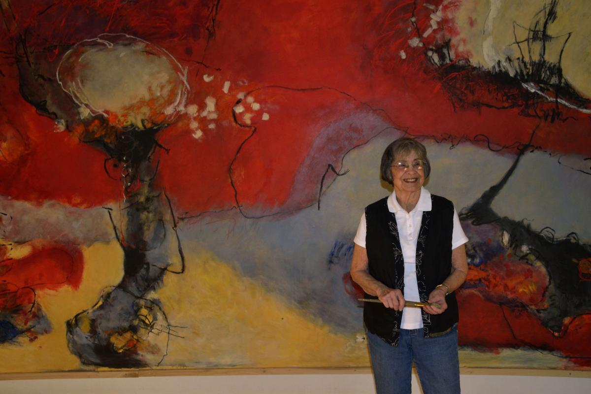 """Laura Spong in front of """"Big Red,"""" 2013"""