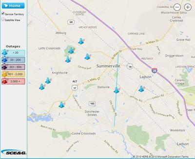 Sce&G Power Outage Map Power back on for most of Summerville after widespread outages