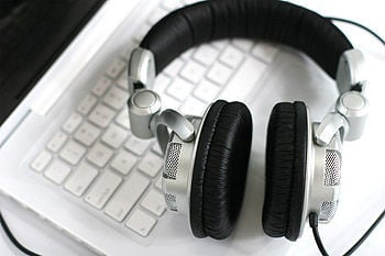 Headphones on keyboard (copy)