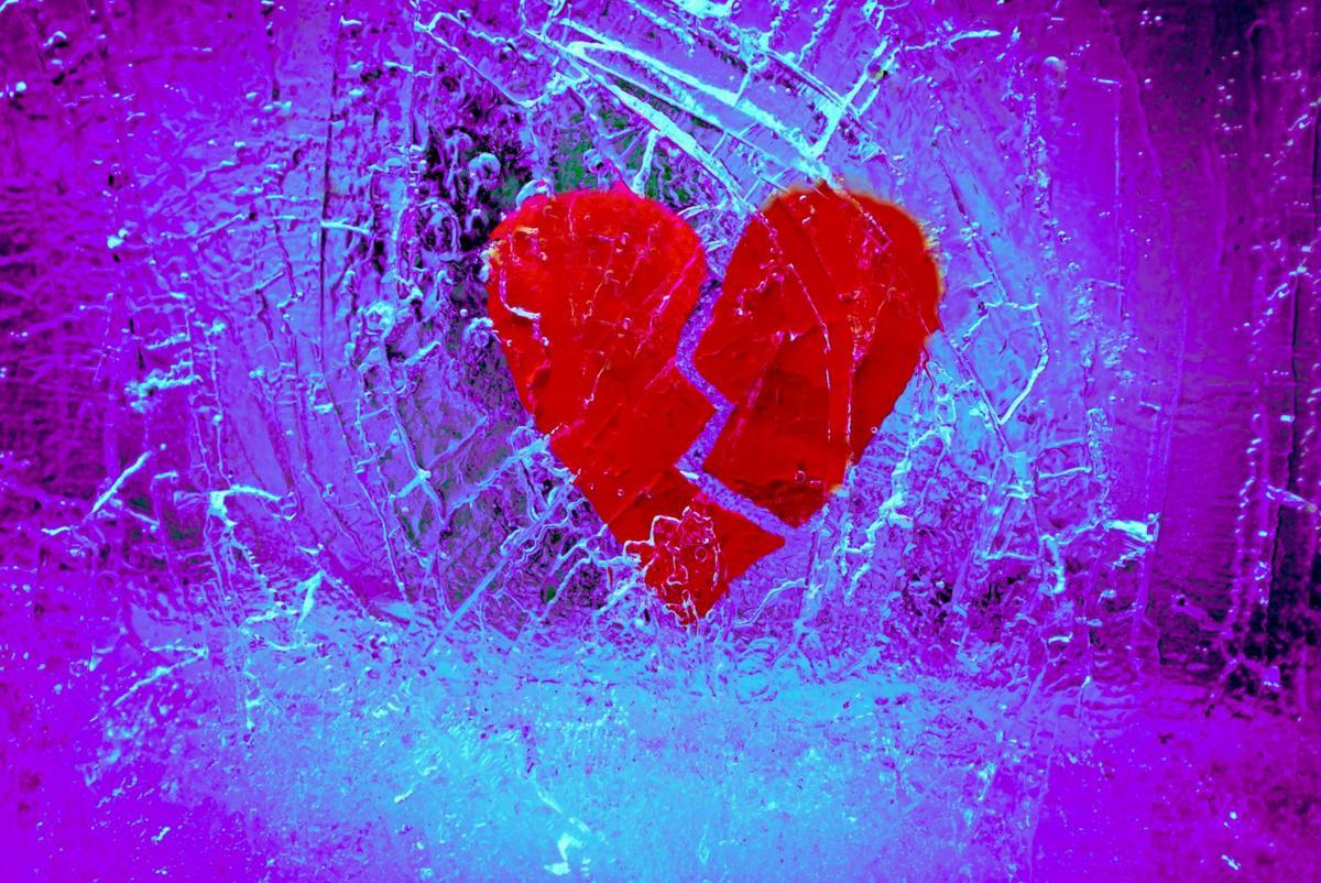 Broken heart with purple back