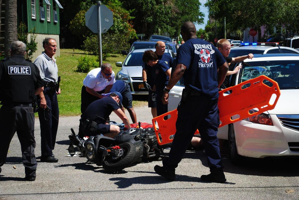 Car, moped collide on Folly Beach, police say