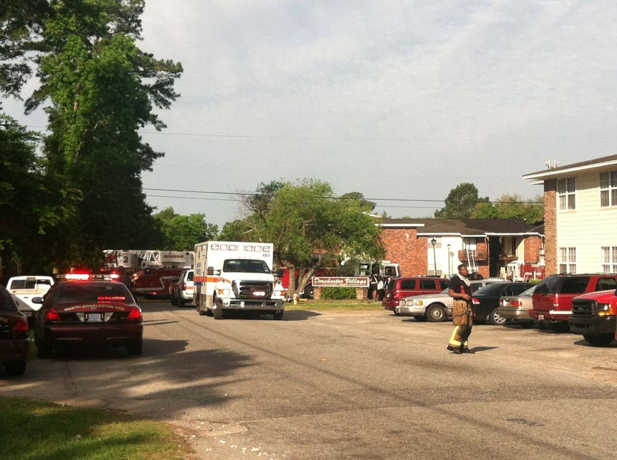 Crews working apartment fire in North Charleston