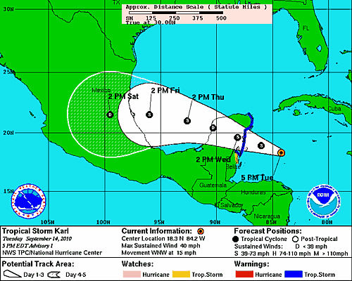 Tropical Storm Karl forms in Caribbean