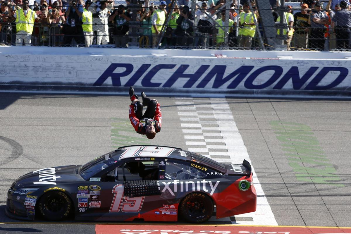Edwards bumps Kyle Busch for victory