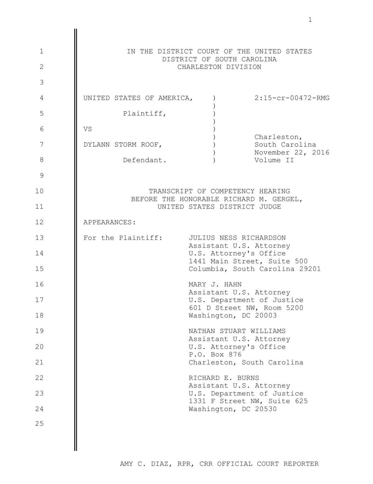 Transcript of Dylann Roof's Nov. 22 competency hearing