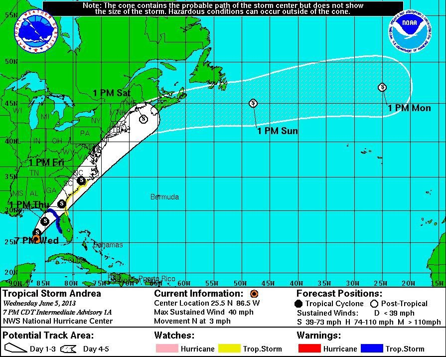 Tropical Storm Andrea brewing in the Gulf, headed here this weekend