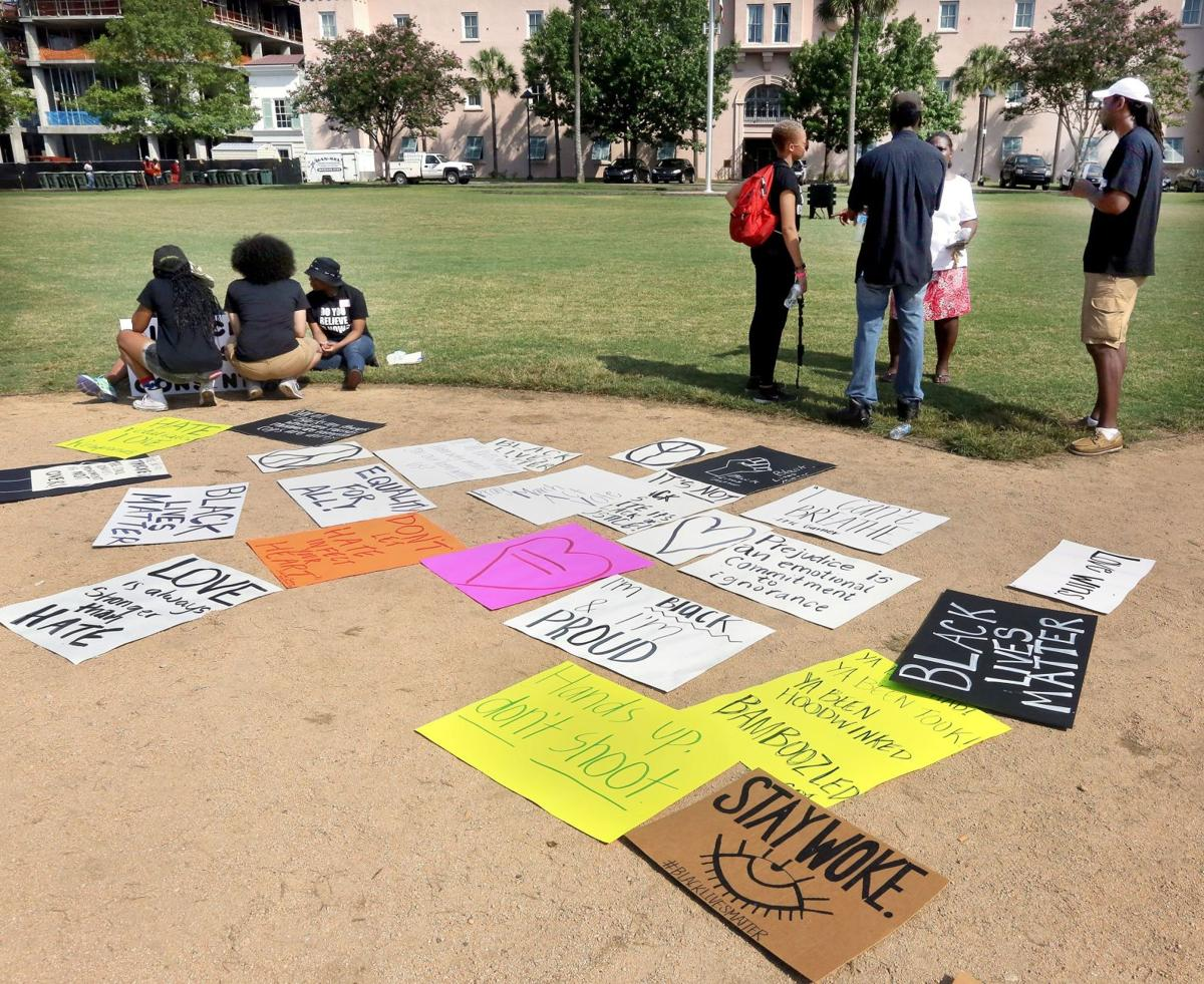 Marion Square protest includes call for nonviolence, care packages
