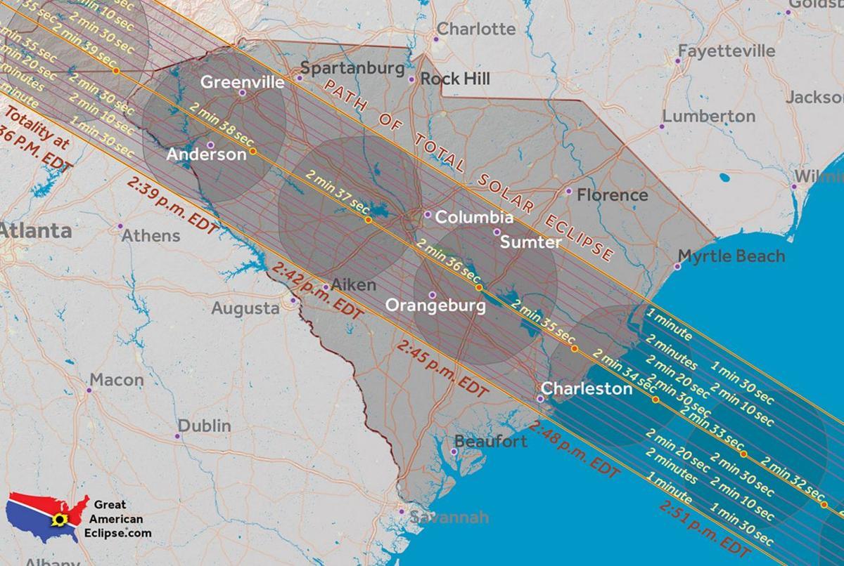 Image result for south carolina eclipse map 2017