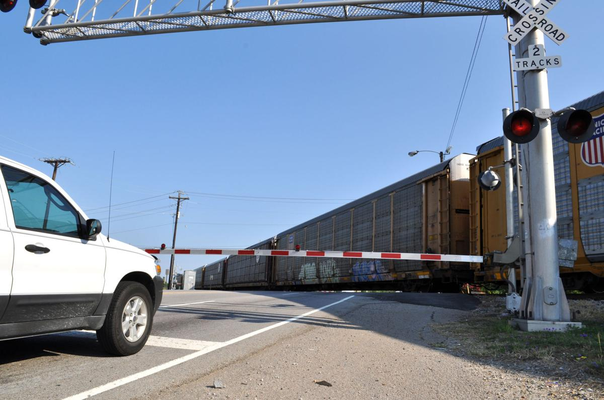 Train blocking Assembly Street in Columbia