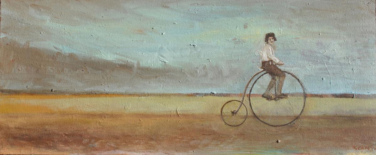 """Self-Portrait on Bicycle circa 1917"""