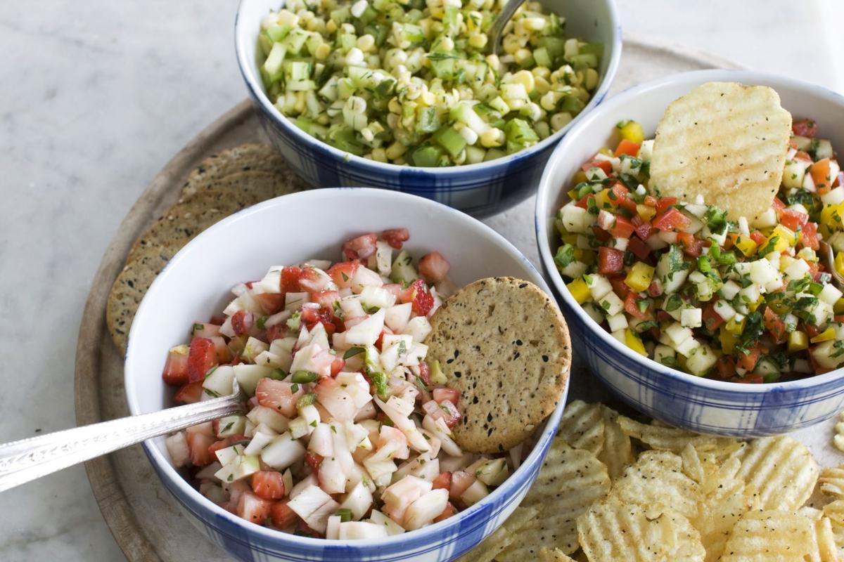 A flavorful trio of summer salsas No tomatoes are needed for this dish