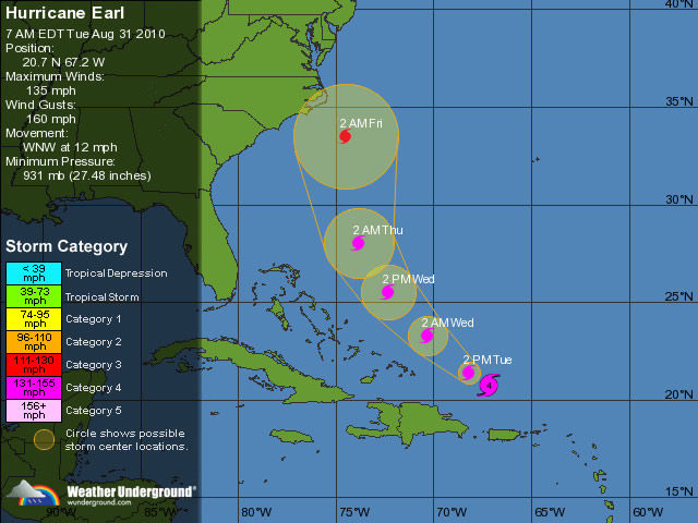 Earl could force US evacuations ahead of Labor Day