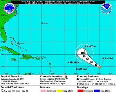 Tropical Storm Ida forms in Atlantic; no threat to land