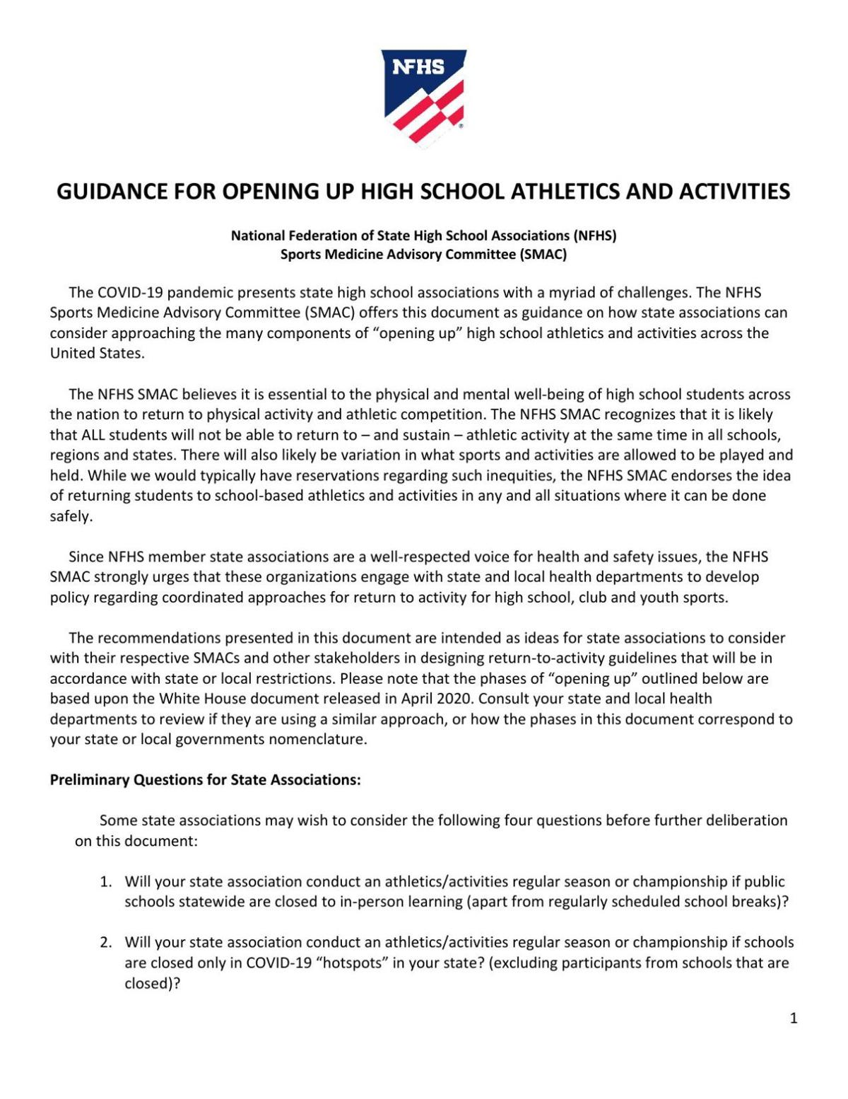 NFHS Guidelines for High School Sports