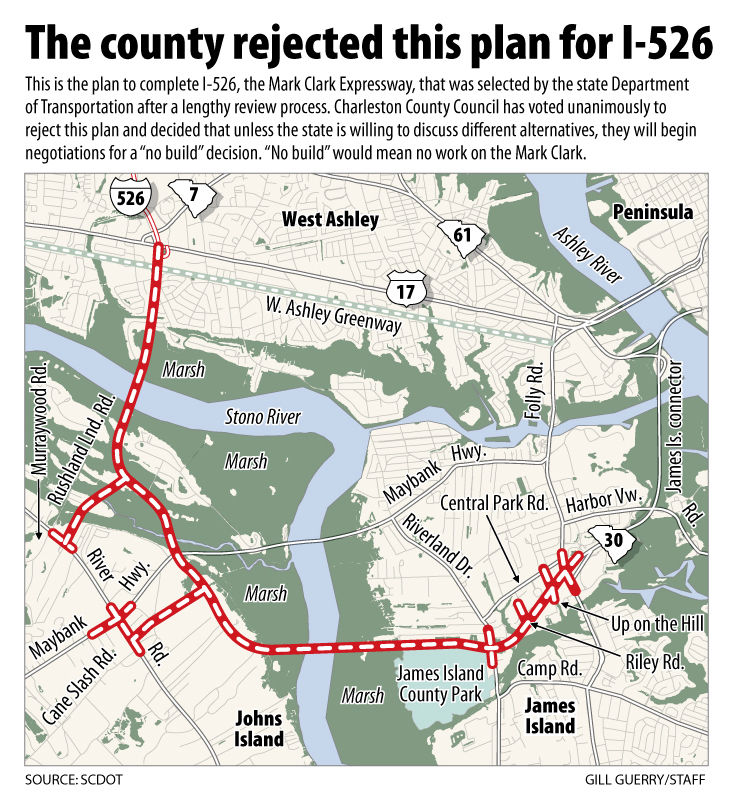 Plan for I-526 rejected: County Council votes 8-0 to say no to completion of Mark Clark Expressway