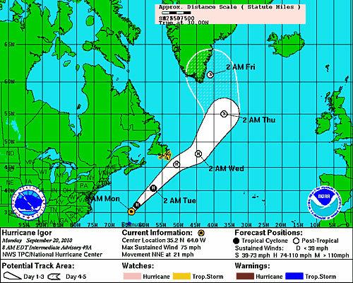 Igor passes near Bermuda as Category 1 hurricane