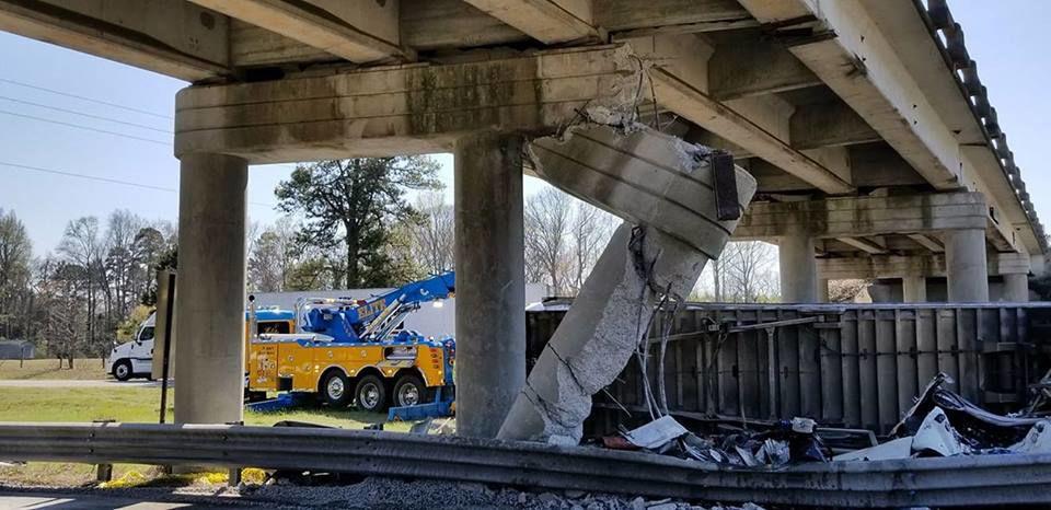 Damaged bridge on Interstate 26 near Orangeburg