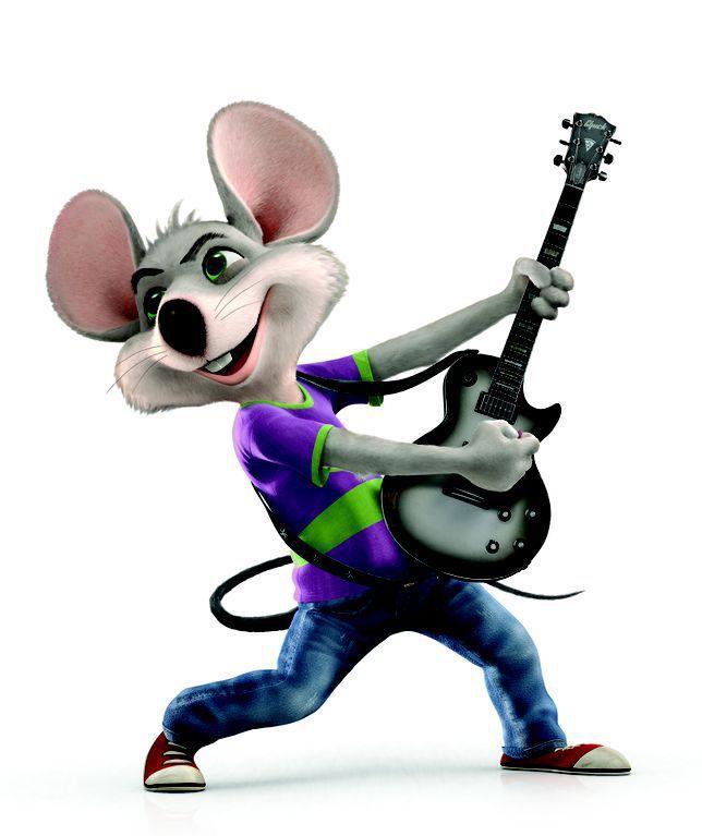 Chuck E. Cheese transforming into a rock star