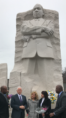 U.S. Sen. Tim Scott, R-S.C., left, joins Vice-President elect Mike Pence at the Martin Luther King, Jr., memorial in Washington, D.C.