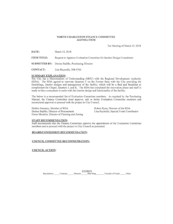 Quarters F Interior Design agreement