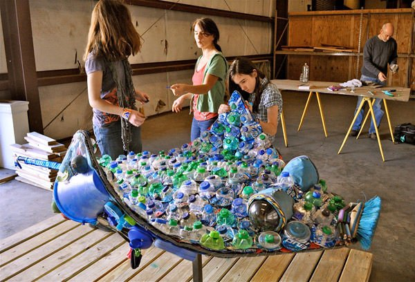 Marine debris forms a message